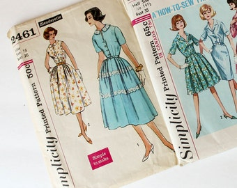 Three Vintage Early 1960s Sewing Patterns, Bust sizes 35, 36, 37