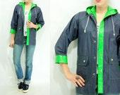 REVERSIBLE Raincoat 1980's Vintage Navy Blue + Neon Green Vinyl Hooded Coat Windbreaker Jacket