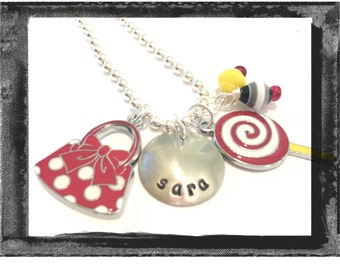Personalized Charm Necklace - VACATION NECKLACE  Minnie purse and a Lollipop Jewelry #M68