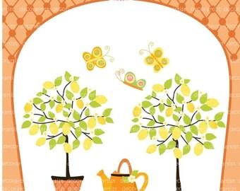 ON SALE tree clip art , Digital clip art for all use,  Lemon tree clip art , summer garden , butterfly ,  yellow lemon clip art, INSTANT Dow