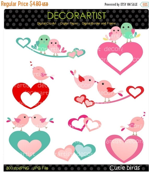ON SALE INSTANT Download clip art , kissing birds clip art, Clip art valentine, cutie birds