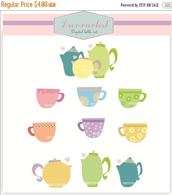 ON SALE Digital clip art for all use, teacup and teapot, INSTANT Download