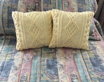SALE: Cream Chunky Cable Pillow-cover, fits 16x16