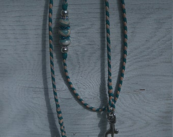 Braided Kangaroo Leather Dog Show Lead  - Turquoise/Natural?Grey - 36""