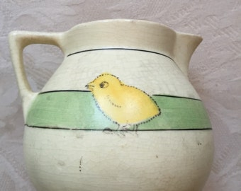 Roseville small creamer with chick