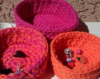 Nesting Bowls / Crochet Bowls / Storage Bowls / Hot Pink and Orange