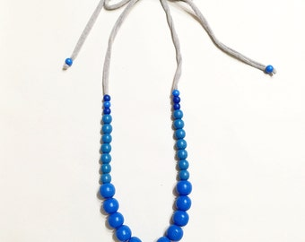 Necklace- Grey Jersey Knit Necklace With Blue Wood Beads