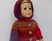Doll Sweater with Hood, 18 Inch Doll Sweatshirt, Doll Clothes, Knit