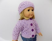 Doll Sweater and Hat Set, Purple Knit Doll Sweater, Knit Doll Clothes