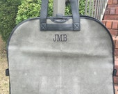 Monogrammed Grey Scotch Grain Leather Garment Bag; Great Graduation, Groomsmen, or Father's Day Gift