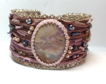 Shibori silk embroidered cuff bracelet with Ohio Flint cabochon