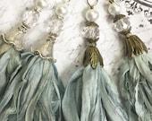 Handcrafted Tassel Pendant Seafoam and aqua Green Sari Silk Tassel Bohemian Pendant Antique Brass Flower Petal Bead Cap Altered Art Sari Sil