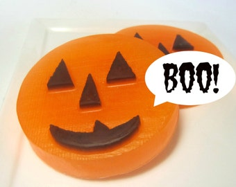 Halloween Soap, Pumpkin Soap - Set of 2, Novelty Soap, Halloween Party Favors, Soap for Kids, Teacher Gift, Fall Soap. Glycerin Soap