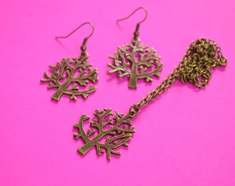 Tree Necklace and Earrings Set Antique Bronze Trees (AB33)