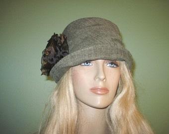Green Tweed Cloche Fall Winter Women's Hat