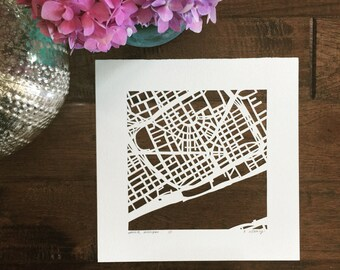 Ann Arbor, Detroit, Grand Rapids, Minneapolis, or Linden Hills hand cut map, 10x10. READY to SHIP
