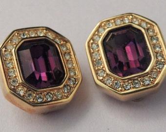 SAL Vintage Swarovski Purple Earrings, Swarovski Earrings, Swarovski Amethyst Crystal Earrings, Swarovski Button Earrings, Swarovski Jewelry