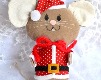 Vintage Christmas Ornament - Plush Felt Mouse Doll in Polka Dot Santa Suit