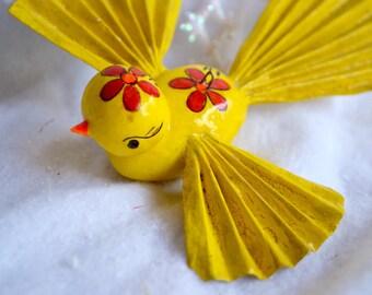 Vintage Christmas Ornament - De Sela Yellow Bird - Mexico Paper Mache