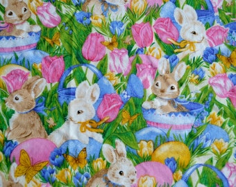 Vintage Fabric - Easter Bunny Rabbits  - 42 x 35