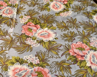 Vintage Fabric - Tropical Coral Flowers on Grey - Upholstery By the Yard
