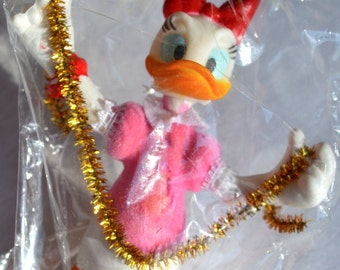 Vintage Disney Daisy Duck Christmas Ornament - Santas World Kurt Adler - NOS