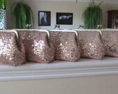 SALE Rose Gold Blush Sequin Clutch Set Of 6,Wedding Accessories,Bridal Accessories,Wedding Clutch,Bridesmaid Clutch, Bridal Purse