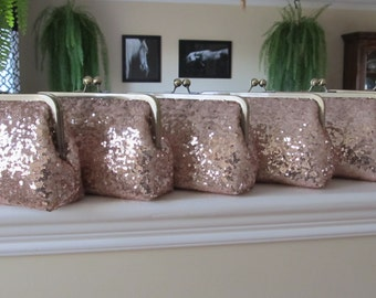 SALE Rose Gold Blush Sequin Clutch Set Of 6,Wedding Accessories,Bridal Accessories,Wedding Clutch,Bridesmaid Clutch, Bridal Purse