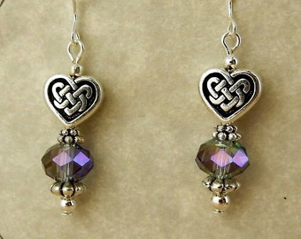 Antique silver Celtic Knot Heart beaded earrings with Lilac purple crystals