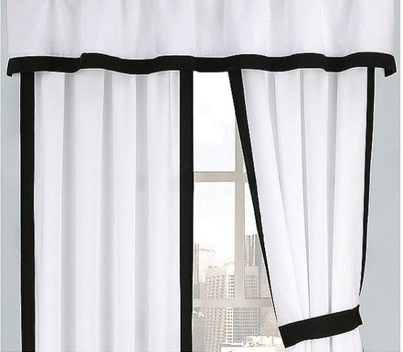 Two Panel Shower Curtain With Attached Valance By