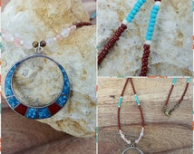 Sterling silver pendant necklace, seed bead necklace, turquiose and coral, tribal, bohemian jewelry, gemstone jewelry.