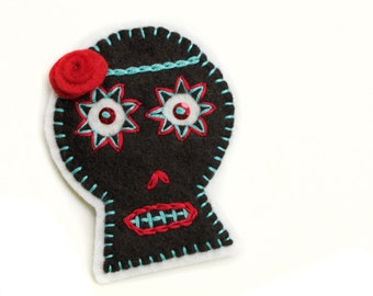 Black Sugar Skull Patch, hand embroidered on felt, teal and red embroidery, wool felt sugar skull applique