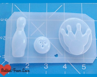 SALE Retro Bowling Pin and Ball and Brooch  Handmade Plastic Mold