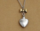 silver bow heart necklace, silver heart bottle, perfume locket, heart container, Victorian style heart charm, heart pendant,