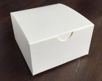 4 Piece Truffle Box - Custom Blank Favor Box - White Matte Paper