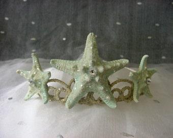 Starfish Mermaid Crown Beach Wedding Tiara, Aqua Blue