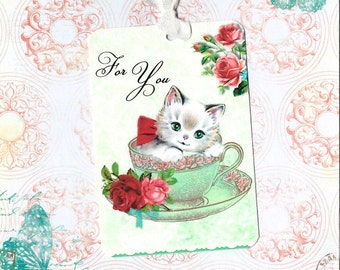 Gift Tags, Tea Cup, For You, Kitten Gift Tags, Party Favors, Tags, Roses