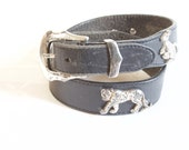 Vintage 1996 Black Leather Belt with silver toned animal decor