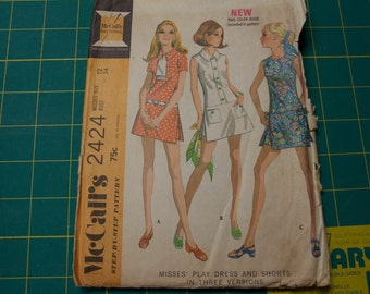 Vintage 1970s McCalls Misses' Play Dress and Shorts Pattern 2424 size 12