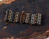 Custom Order, Mixed Metals, Woven Boho Bracelet, Handmade Bronze Pod, reserve Liz