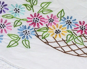 Vintage HAND EMBROIDERED and CROCHETED Pillowcases, Set of 2, 1970s