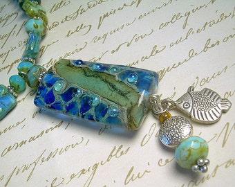 Dark Waters - Sterling Silver, Lampwork and Gemstone Necklace & Earrings
