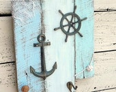Nautical Theme Decor, Coastal Decor, Nautical Mile, Beach Cottage Wall Sign, Nursery Sign with Hooks, Anchor, monkey knot one of a kind