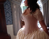 75% off FLASH SALE Labor Day Weekend, 18th c. Marie Antoinette Corset Stays in Dusty Rose brocade Historic Steel Boned Rococo Cosplay