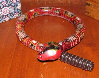 Folk art wooden rattlesnake
