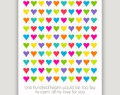 One Hundred Hearts, Valentine decor, Valentine wall art, multi color hearts, heart nursery print, colorful nursery art, children's wall art