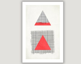 Red Triangle, Geometric Print, abstract art, geometric art, abstract poster, minimalist art, mid century modern, red black decor, wall art