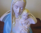 Blessed Virgin Mary with Baby Jesus Planter Vase Statue Made USA Beautiful