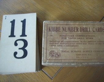 Original Box of 48 Kibbe Number Drill Flash Cards from Ideal School Supply Chicago