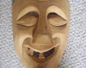 SALE Hand Carved Wooden Mexican Folk Art Collectible Mask Was 26.00